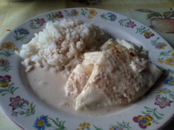 Rezept: Fisch mit Butter-Weinbrandsauce und Reis