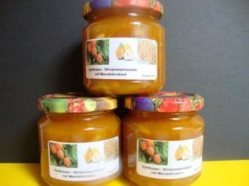 Aprikosen-Birnen Konfitüre mit Haselnusskrokant - Rezept