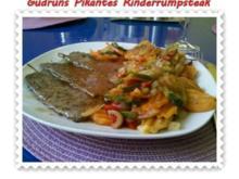 Fleisch: Pikantes Rinderrumpsteak mit gedämpften Gemüse - Rezept