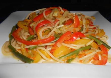 Spaghetti-Gemüse-Pfanne - Rezept