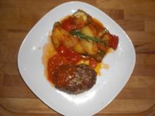 Backkartoffeln und Bifteki à la Linda - Rezept