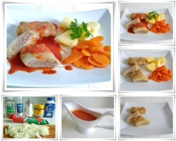 Kohlrouladen mit Tomatensauce, Salzkartoffeln und Möhren - schonend gegart. - Rezept - Bild Nr. 3