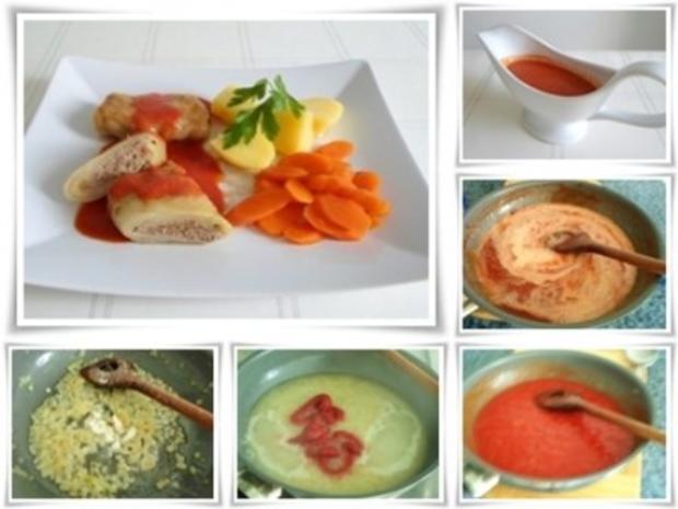 Kohlrouladen mit Tomatensauce, Salzkartoffeln und Möhren - schonend gegart. - Rezept - Bild Nr. 17