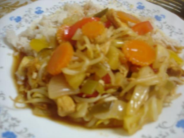 Hähnchenbrustfilet-Gemüse-Wok süss-sauer - Rezept - Bild Nr. 2