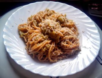 Zuchini Spaghetti mit Pesto - Rezept