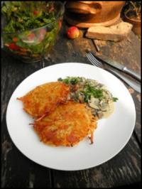Mozzarella mit Kartoffelkruste und sahnige Hexenröhrlinge - Rezept