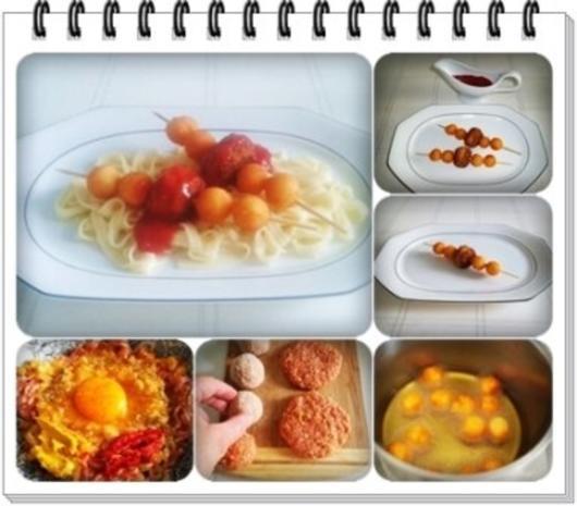 Fleisch-Kartoffelbällchen-Spieß auf Tagliatelle - Rezept - Bild Nr. 4