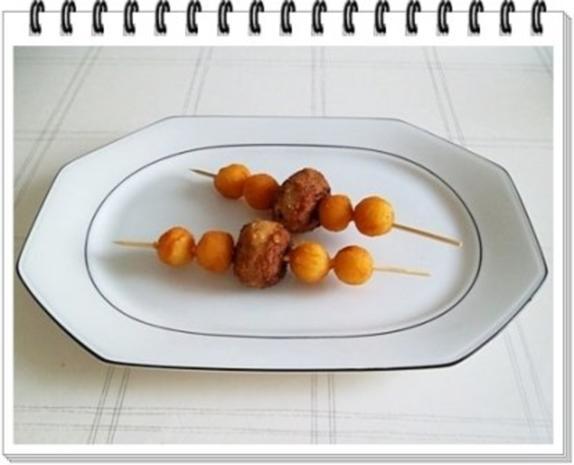Fleisch-Kartoffelbällchen-Spieß auf Tagliatelle - Rezept - Bild Nr. 10