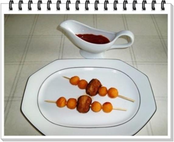 Fleisch-Kartoffelbällchen-Spieß auf Tagliatelle - Rezept - Bild Nr. 11