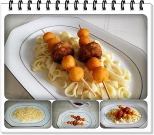 Fleisch-Kartoffelbällchen-Spieß auf Tagliatelle - Rezept - Bild Nr. 14