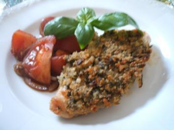 Geflügel: Hähnchenbrüste unter einer Kräuter-Käse-Haube - Rezept