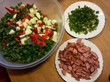Rezept: Zucchini mit roter Paprika, Lauchzwiebel und Ingwer