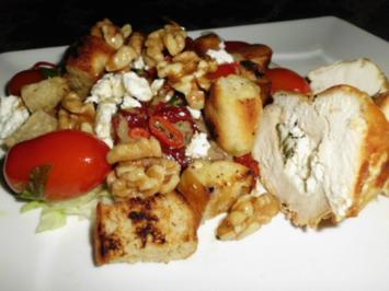 Gefülltes Hähnchenbrustfilet mit einem speziellen Salat (das Fleisch wird zur Nebensache) - Rezept