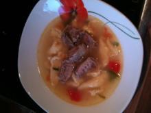 Selbstgem Eiernudelsuppe mit Rindfleisch (Hess. Eierriwwelsupp) - Rezept