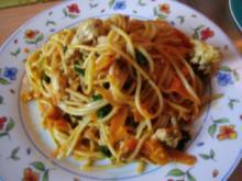 Pfannengericht Spaghetti mit Kürbis und Möhre - Rezept