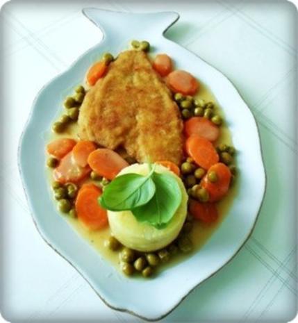 Gebratene Scholle auf Gemüsebett mit leckerem Stampfkartoffel - Türmchen - Rezept - Bild Nr. 2