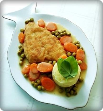 Gebratene Scholle auf Gemüsebett mit leckerem Stampfkartoffel - Türmchen - Rezept - Bild Nr. 26