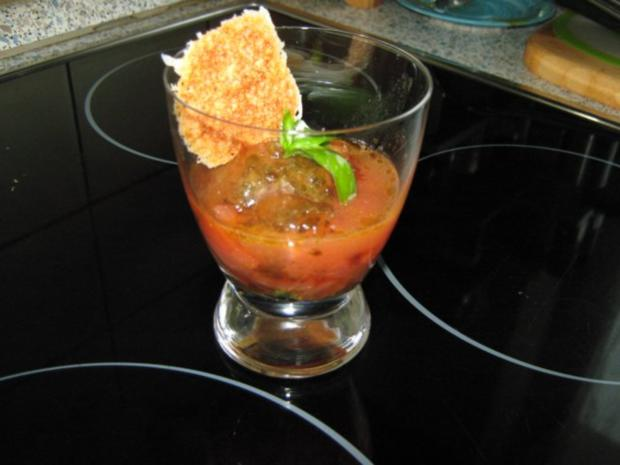 Vorspeise: Tomaten-Mozzarella-Salat, mit Sorbet - Rezept