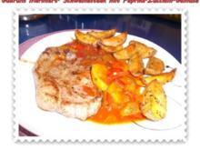Fleisch: Marinierte Steaks mit Paprika-Zucchini-Gemüse und Kräuter-Ofenkartoffeln - Rezept