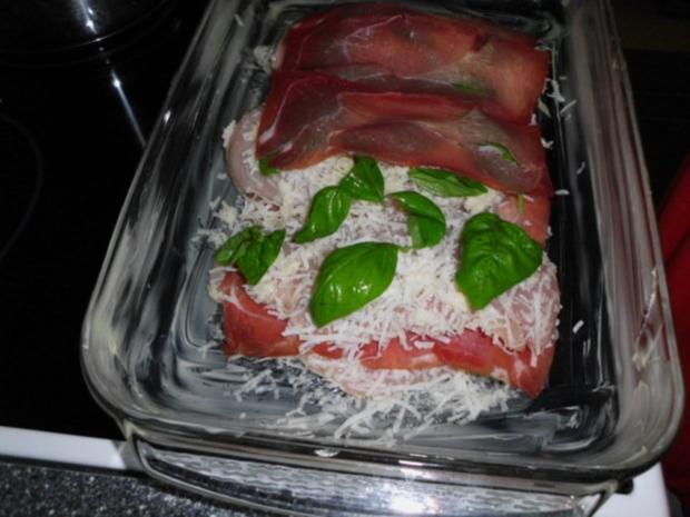 Geschichtete Käse-Hähnchenbrustfilets in einer Zwiebel-Senfsahnesauce, überbacken - Rezept - Bild Nr. 9