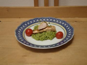 Basilikumrisotto mit Kaninchenfilet - Zuvor Tatarpraline und Schinkengrissino - Rezept
