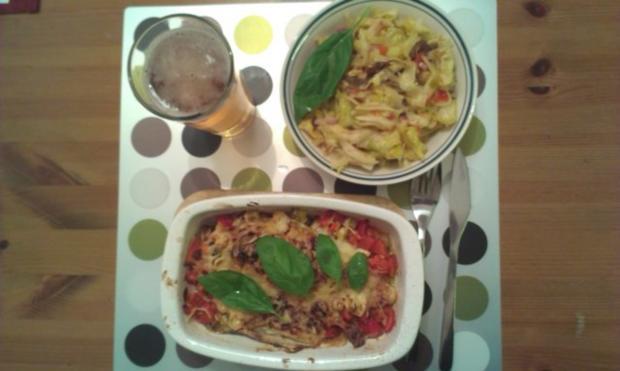 Chicoreeauflauf mit Feigen und Käse ueberbacken - Rezept