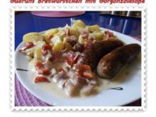 Fleisch: Bratwürstchen mit Gorgonzolasoße - Rezept