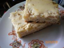 Kuchen: Quarkkuchen mit Pfirsichen vom Blech - Rezept