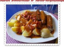 Fleisch: Bratwürstchen mit Harissa-Gorgonzola-Soße - Rezept