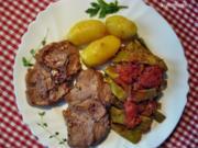 Lammkoteletts mit mediterranem Bohnengemüse - Rezept