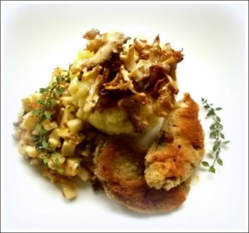 Parasolpilz-Schnitzel, Apfel-Zucchini-Gemüse und Kartoffelpüree - Rezept