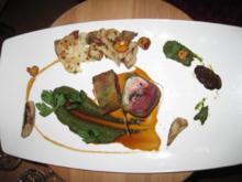 Wachtel und Taube im Brotmantel mit Blumenkohl, Petersilie und Steinpilzen - Rezept