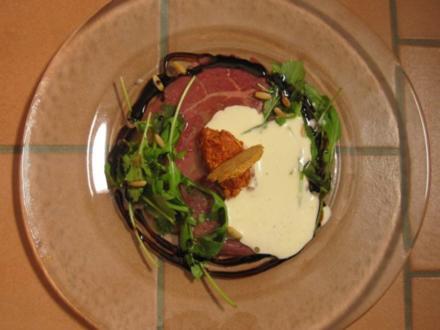 Carpaccio vom Rind und davor Osca, Kleine italienische Apetizer - Rezept