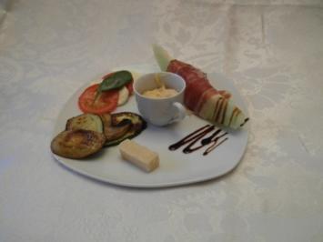 Antipasti, Caprese, Ailoi, Olivenbrot, Melone im Parmaschinken und Gemüse - Rezept