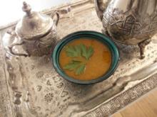 """Harira Suppe und davor: """"Gurke küsst Minze Drink"""" dazu Bestilla - Rezept"""