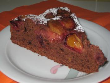Zwetschgen Rotwein Schoko Kuchen - Rezept