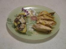 Zitronenhuhn mit gefüllter Kartoffel an Zitronenschaum - Rezept