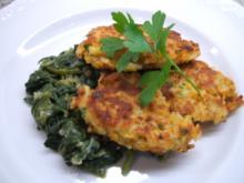 Reisplätzchen auf Blattspinat - Rezept