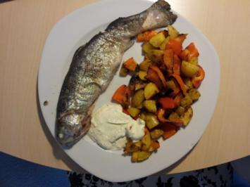 Forelle mit Paprika-Bratkartoffeln und Crème fraîche mit Kräutern - Rezept