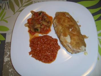 Cordonbleu mit Tomatenrisotto und Champignongemüse. - Rezept