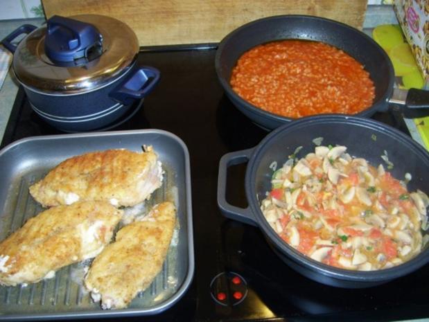 Cordonbleu mit Tomatenrisotto und Champignongemüse. - Rezept - Bild Nr. 12