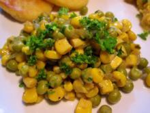 Gemüse aus Mais mit grünen Erbsen - Rezept