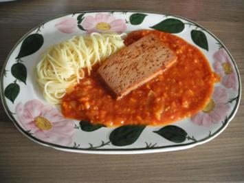 Vegan : Tomaten - Möhrensoßen mit Soja - Leberkäse - Rezept