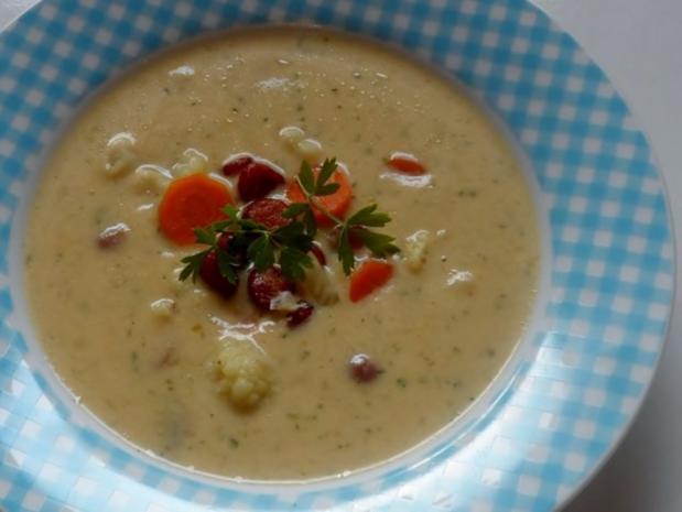 Suppen: Pikante Blumenkohl-Creme-Suppe mit Karotten und Cabanossi - Rezept - Bild Nr. 10