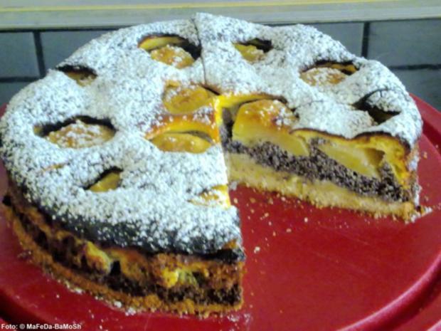 Mohn-Apfelkuchen mit Schmandguss - Rezept