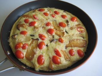 Omelett mit Kräuterseitlingen und Bergkäse (Pfannkuchen) - Rezept