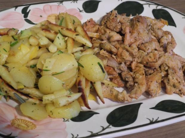 Schwein : Gyros mit Tzatziki an Kartoffel-Schupfnudel-Pfanne - Rezept