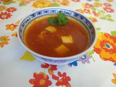 Asiatische Tomatensuppe mit Eierstich - Rezept
