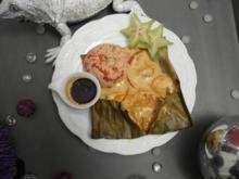 Rotbarsch mit rotem Curry im Bananenblatt, dazu frischer Couscous-Salat - Rezept