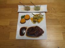 Gejagtes Vieh und Gesammeltes aus dem Wald - (Rinderfilet mit Süßkartoffeln und Gemüse) - Rezept